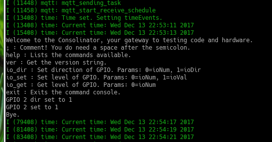 Screenshot of a command console session
